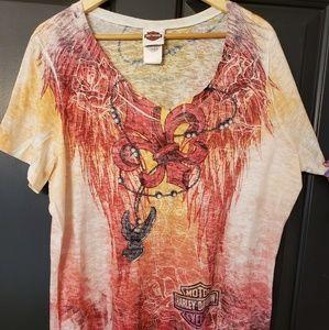 Ladies 2XL Authentic Harley Davidson V-neck Shirt